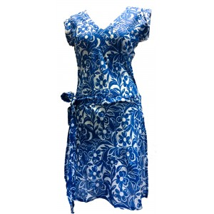 Blue Hibiscus Flower Print Soft Cotton  Dress / Over Dress / Cover Up - Fair Trade
