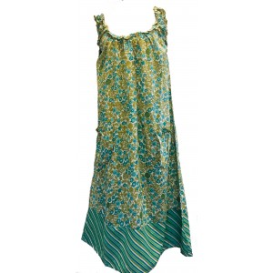 Soft Cotton Loose fit Shift Dress / Over Dress - Pretty Turquoise / Green Flower Print  - Fair Trade