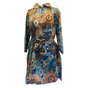 Pleated Short Shirt Dress with Belt - Bold Print - Fair Trade