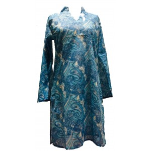 Beautiful  Cotton Kaftan - Pale Blue Paisley Print - Fair Trade