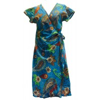 Blue / Green  Exotic Flower Soft Cotton Wrap Dress / Over Dress / Cover Up - Fair Trade from Rajasthan, India