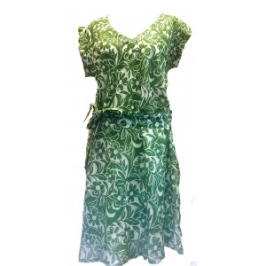 Green Hibiscus Flower Print Soft Cotton  Dress / Over Dress / Cover Up - Fair Trade