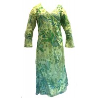 Green Funky Print Stretchy Dress - Crossover V Neck  - Fair Trade from Rajasthan, India