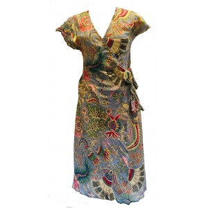 Grey Exotic Flower Soft Cotton Wrap Dress / Over Dress / Cover Up - Fair Trade from Rajasthan, India