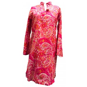 Beautiful  Cotton Kaftan - Pink Paisley Print - Fair Trade