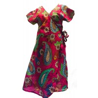 Dark Pink Exotic Flower Soft Cotton Wrap Dress / Over Dress / Cover Up - Fair Trade from Rajasthan, India