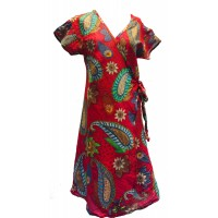 Red Exotic Flower Soft Cotton Wrap Dress / Over Dress / Cover Up - Fair Trade from Rajasthan, India