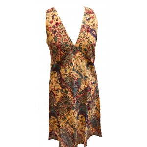 Pale Yellow Paisley Soft Cotton V Neck Summer Dress - Fair Trade from Rajasthan, India