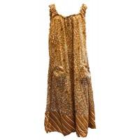 Soft Cotton Loose Fit Shift Dress / Over Dress - Pretty Sandy Brown / Green Flower Print  - Fair Trade