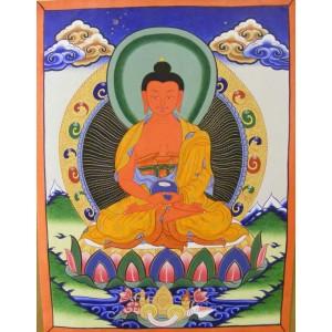 Genuine Original Tibetan Buddhist Thangka Painting -  Amitabha, the Buddha of Comprehensive Love - Fair Trade