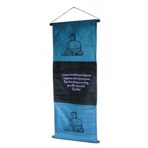Blue Buddha Affirmation Wall Hanging / Banner 100% Cotton - Fair Trade