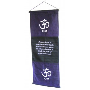Purple Om Affirmation Wall Hanging / Banner - 100% Cotton - Fair Trade