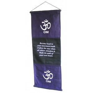 Purple Om Affirmation Wall Hanging / Banner - 100% Cotton - Fair Trade