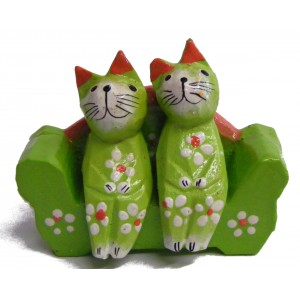 Quirky Fair Trade Wooden Hand Painted Two Cats on a Sofa