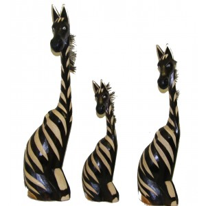 Fair Trade Hand Carved Wooden Sitting Zebras - choice of 3 sizes
