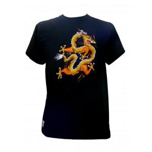 Fair Trade Embroidered Golden Chinese Dragon T Shirt ( Black T Shirt)