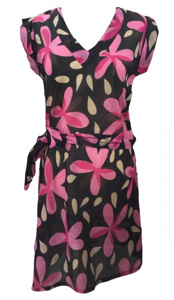 Pink Flower Print Short Cotton Summer Dress / Long Top / Kaftan Beautiful Carina Design - Fair Trade