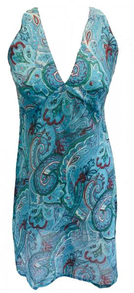 Light Blue Paisley Soft Cotton V Neck Summer Dress - Fair Trade from Rajasthan, India