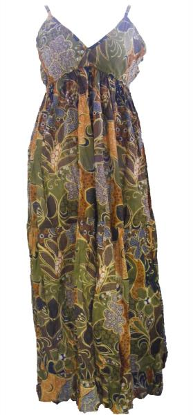Earthy Brown Flower Print Long Cotton Summer Maxi Dress  - Floaty Louisa Design - Fair Trade
